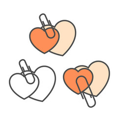 two overlapping hearts united with staple - love vector image