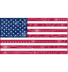USA flag outline 2 vector image