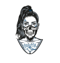 vintage concept woman in scary mask vector image