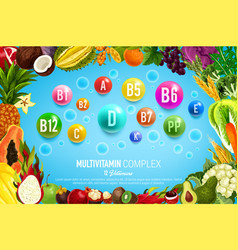 Vitamin banner with food vegetable fruit frame vector