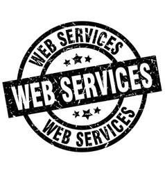 Web services round grunge black stamp vector