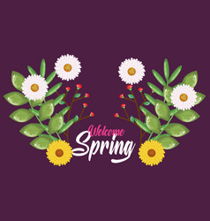 welcome spring decorative art vector image