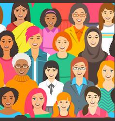 Women diversity seamless background pattern vector