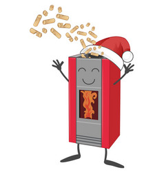 Wood pellet stove cartoon with santa claus hat vector