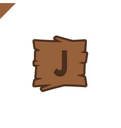 Wooden alphabet or font blocks with letter j vector