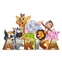 Word Africa with cute wild animal vector image