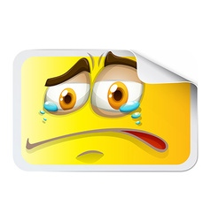 Yellow rectangular sticker with crying face vector
