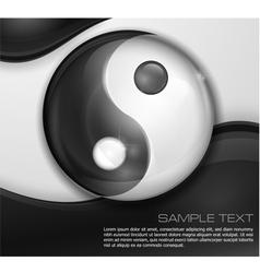 Yin yang symbol on white black vector image