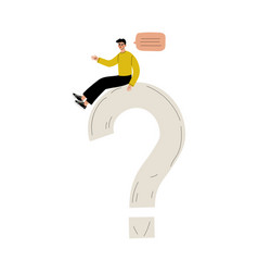 Young man sitting on a big question mark person vector