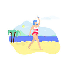 Young woman exercising with dumbbells on beach vector