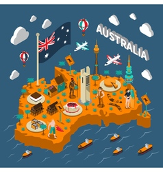 Australia Touristic Attractions Isometric Map vector image