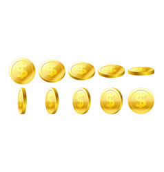 gold 3d coins set vector image
