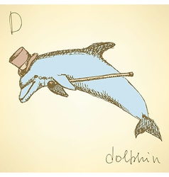 Sketch fancy dolphin in vintage style vector image vector image