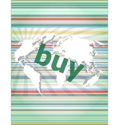 The word buy on digital screen business concept vector image vector image