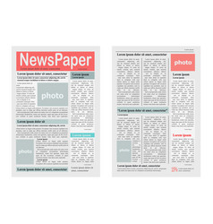 two newspaper pages on white vector image vector image