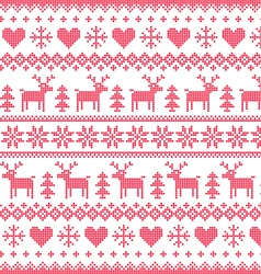 Winter Christmas red seamless pixilated pattern vector image vector image