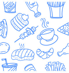 collection of food doodle style design vector image