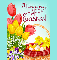 easter basket with eggs and flowers greeting card vector image
