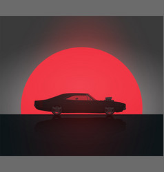 muscle car in sunset silhouette vector image vector image
