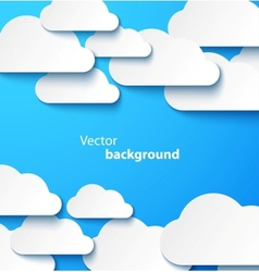 Paper clouds banner with drop shadows vector image
