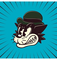 Vintage cartoon angry cat character vector image vector image