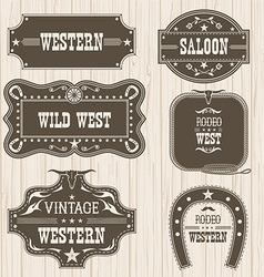 Western vintage labels isolated for design frames vector
