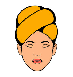 Woman with yellow towel on her head icon vector