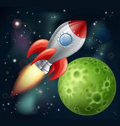 cartoon rocket in space vector image vector image