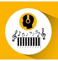 head silhouette listening music piano vector image