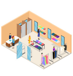 interior clothing store isometric view vector image