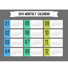 Stylish calendar to a new 2014 year vector image