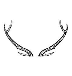 hand drawn reindeer antlers vector image vector image