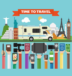 Travel composition with famous world modern flat vector