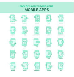 25 green mobile apps icon set vector