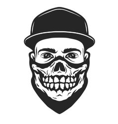 a guy in bandana with skull pattern vector image