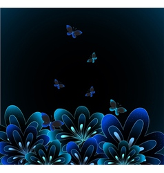 Abstract flower on black background vector image
