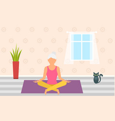 adult woman meditating in pose lotus home vector image