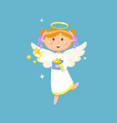 angel with box stars christmas or easter symbol vector image