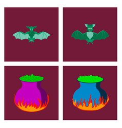 Assembly flat cute bat potion vector