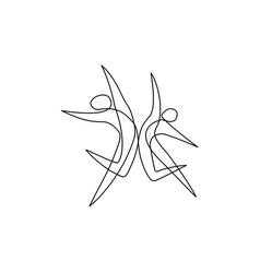 Ballet dancers in motion one line drawing vector