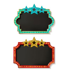 big set of retro frames with glowing lamps vector image