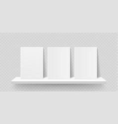 book shelf mockup bookshelf wall with blank book vector image