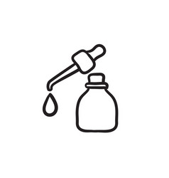 Bottle of essential oil and pipette sketch icon vector