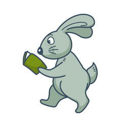 bunny with long ears walks and reads book vector image