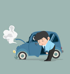 Businessman sorry with car accident vector