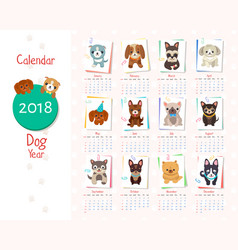 Calendar dog year set on illiustration vector