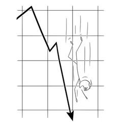 Cartoon man or businessman falling down along vector
