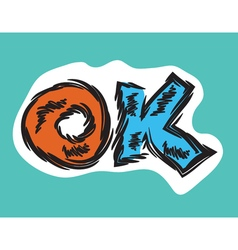 Cartoon word OK retro style vector