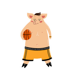 Character funny pig on isolated background vector