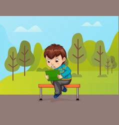 Character using tablet sitting on bench vector